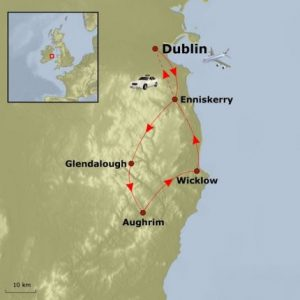Cycling Tour of Dublin & Wicklow - Map of route