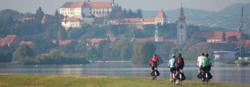Cycling Holiday in Slovenia Group of Cyclists Passing Town
